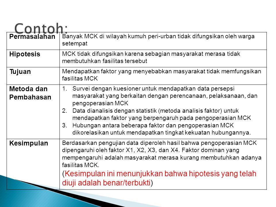 Permasalahan Banyak MCK di wilayah kumuh peri-urban tidak difungsikan oleh warga setempat Hipotesis MCK tidak difungsikan karena sebagian masyarakat m