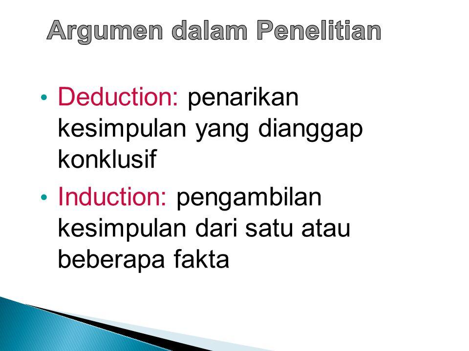 Deduction: penarikan kesimpulan yang dianggap konklusif Induction: pengambilan kesimpulan dari satu atau beberapa fakta