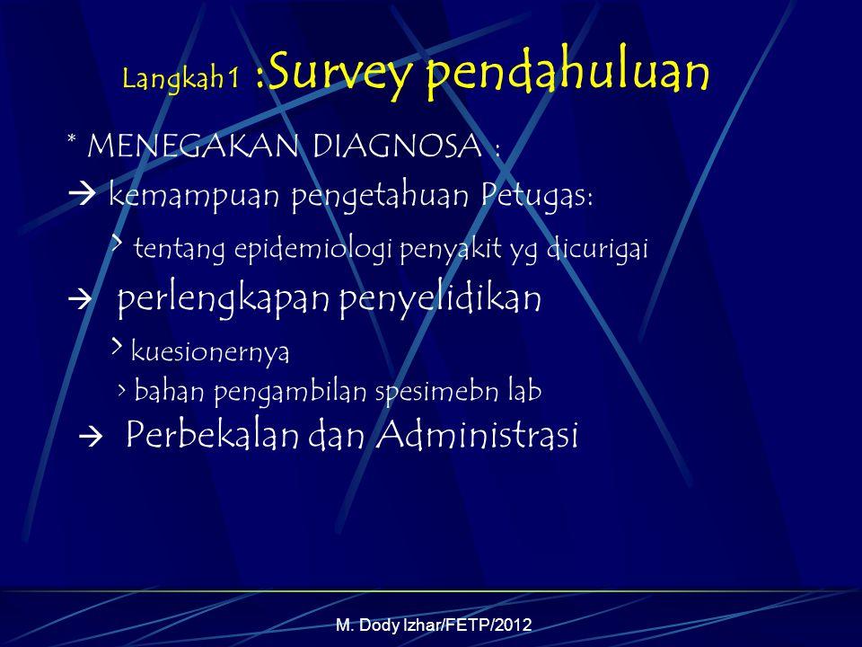 M. Dody Izhar/FETP/2012 Langkah 1 :Survey pendahuluan * MENEGAKAN DIAGNOSA :  kemampuan pengetahuan Petugas: > tentang epidemiologi penyakit yg dicur