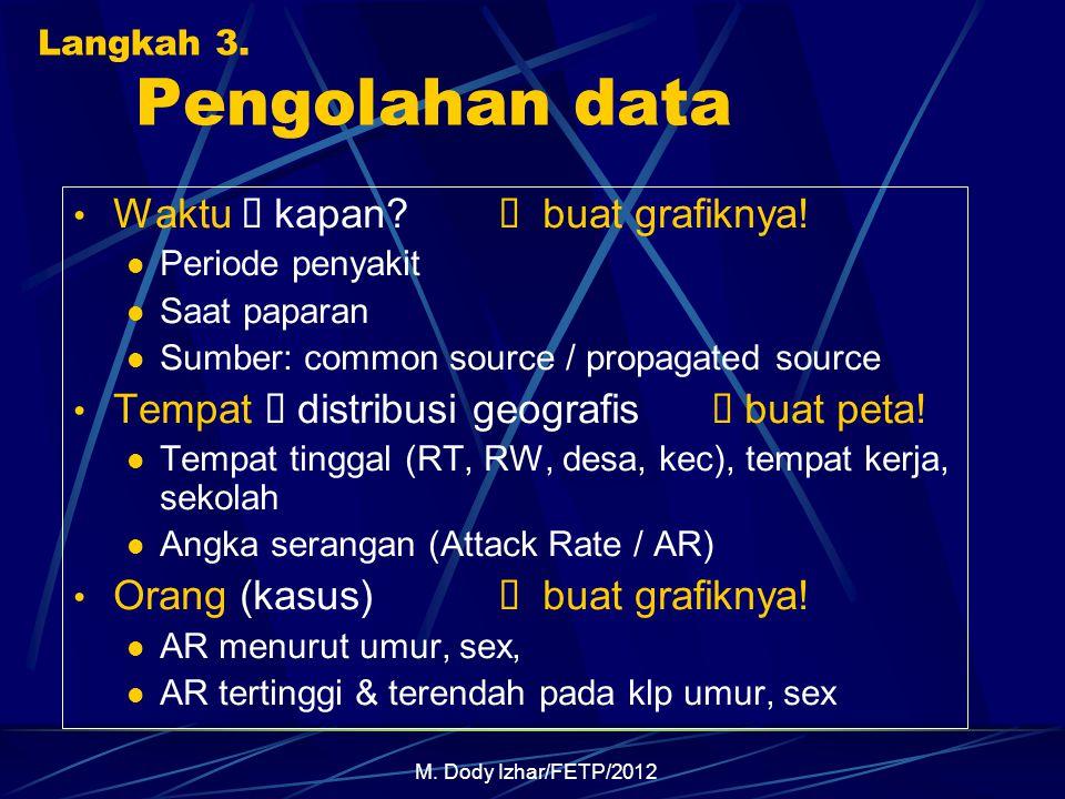 M. Dody Izhar/FETP/2012 Langkah 3. Pengolahan data Waktu  kapan?  buat grafiknya! Periode penyakit Saat paparan Sumber: common source / propagated s