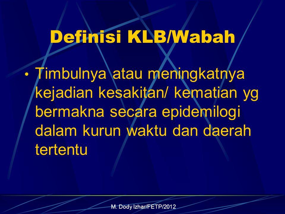 M. Dody Izhar/FETP/2012 Definisi KLB/Wabah Timbulnya atau meningkatnya kejadian kesakitan/ kematian yg bermakna secara epidemilogi dalam kurun waktu d