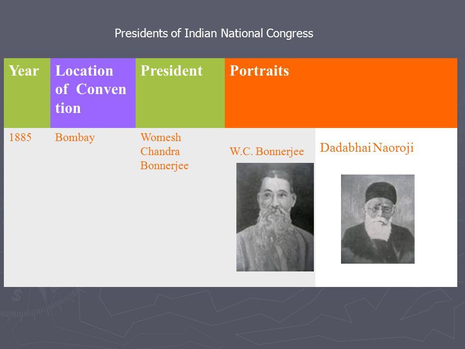 YearLocation of Conven tion PresidentPortraits 1885BombayWomesh Chandra Bonnerjee W.C. Bonnerjee Dadabhai Naoroji Presidents of Indian National Congre