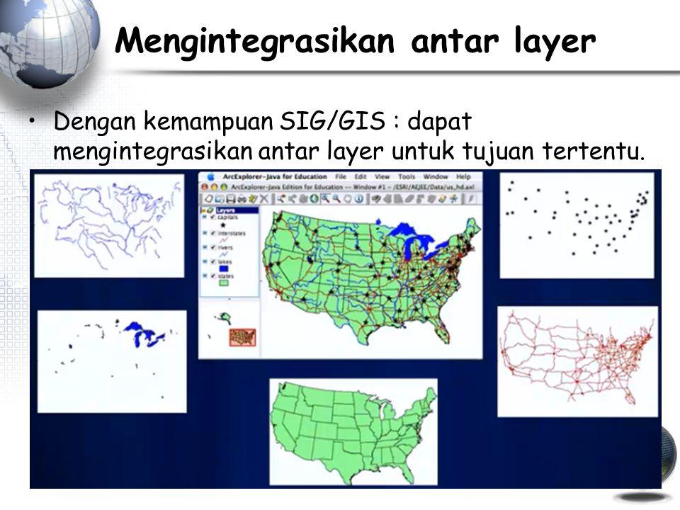 Mengintegrasikan antar layer Dengan kemampuan SIG/GIS : dapat mengintegrasikan antar layer untuk tujuan tertentu.