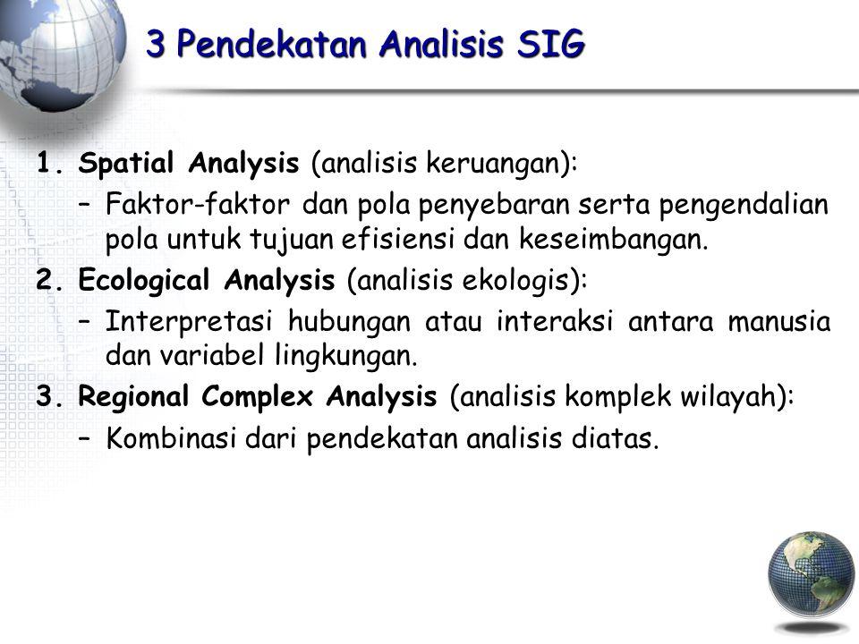 3 Pendekatan Analisis SIG 1.Spatial Analysis (analisis keruangan): –Faktor-faktor dan pola penyebaran serta pengendalian pola untuk tujuan efisiensi dan keseimbangan.