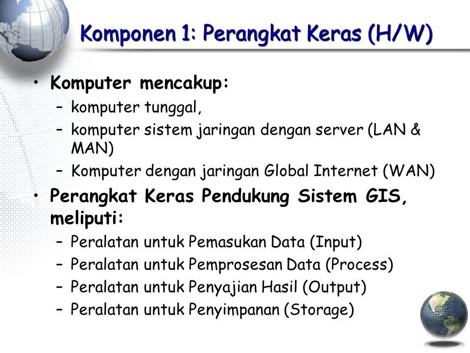 Komponen 1: Perangkat Keras (H/W) Komputer mencakup: –komputer tunggal, –komputer sistem jaringan dengan server (LAN & MAN) –Komputer dengan jaringan Global Internet (WAN) Perangkat Keras Pendukung Sistem GIS, meliputi: –Peralatan untuk Pemasukan Data (Input) –Peralatan untuk Pemprosesan Data (Process) –Peralatan untuk Penyajian Hasil (Output) –Peralatan untuk Penyimpanan (Storage)