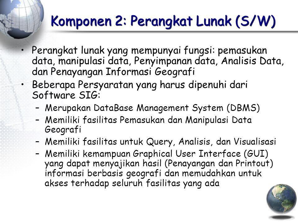 Komponen 2: Perangkat Lunak (S/W) Perangkat lunak yang mempunyai fungsi: pemasukan data, manipulasi data, Penyimpanan data, Analisis Data, dan Penayangan Informasi Geografi Beberapa Persyaratan yang harus dipenuhi dari Software SIG: –Merupakan DataBase Management System (DBMS) –Memiliki fasilitas Pemasukan dan Manipulasi Data Geografi –Memiliki fasilitas untuk Query, Analisis, dan Visualisasi –Memiliki kemampuan Graphical User Interface (GUI) yang dapat menyajikan hasil (Penayangan dan Printout) informasi berbasis geografi dan memudahkan untuk akses terhadap seluruh fasilitas yang ada