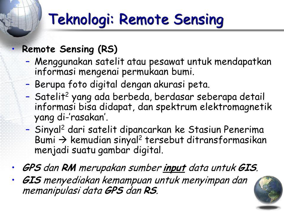 Teknologi: Remote Sensing Remote Sensing (RS) –Menggunakan satelit atau pesawat untuk mendapatkan informasi mengenai permukaan bumi.