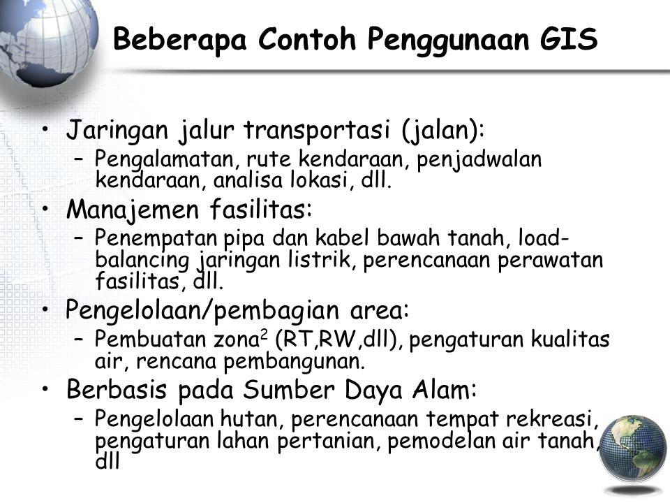 Beberapa Contoh Penggunaan GIS Jaringan jalur transportasi (jalan): –Pengalamatan, rute kendaraan, penjadwalan kendaraan, analisa lokasi, dll.