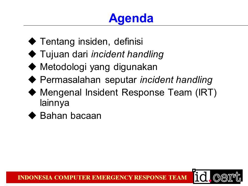 INDONESIA COMPUTER EMERGENCY RESPONSE TEAM Agenda  Tentang insiden, definisi  Tujuan dari incident handling  Metodologi yang digunakan  Permasalahan seputar incident handling  Mengenal Insident Response Team (IRT) lainnya  Bahan bacaan