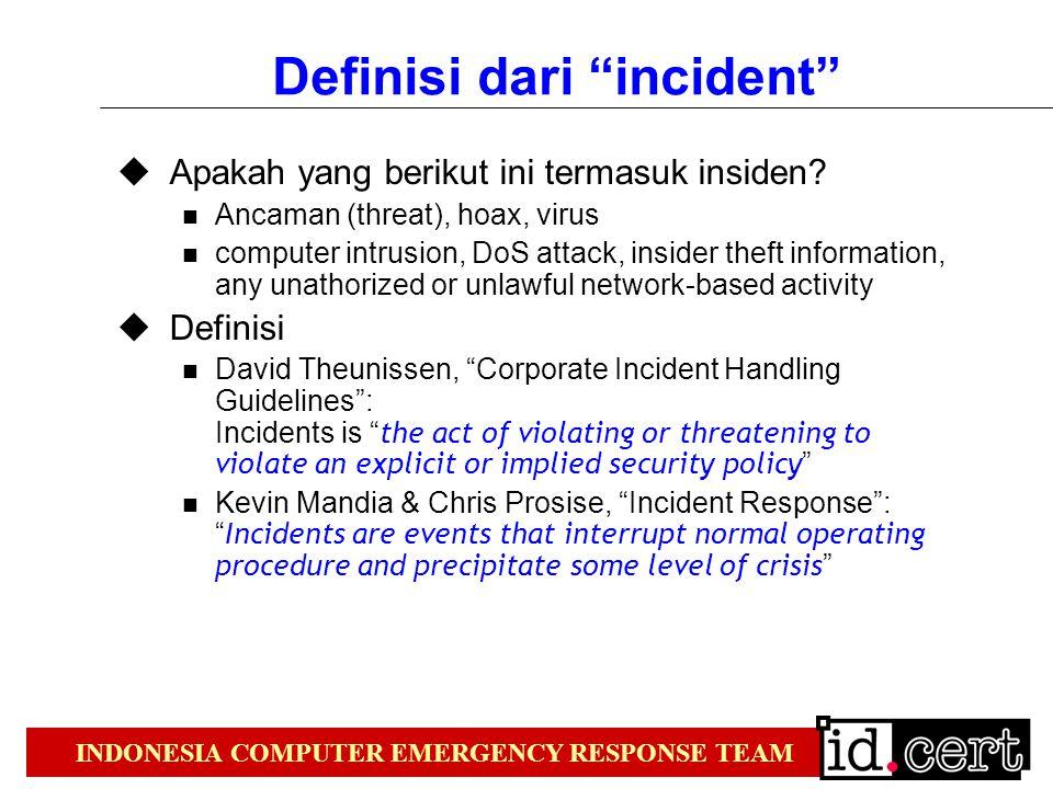 INDONESIA COMPUTER EMERGENCY RESPONSE TEAM Definisi dari incident  Apakah yang berikut ini termasuk insiden.