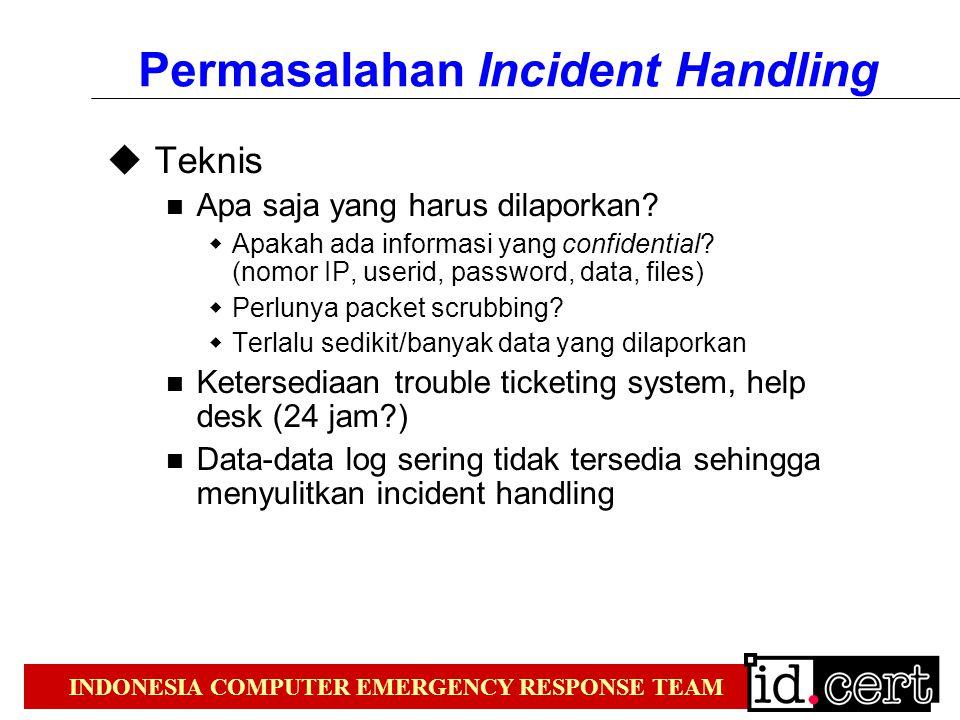 INDONESIA COMPUTER EMERGENCY RESPONSE TEAM Permasalahan Incident Handling  Teknis Apa saja yang harus dilaporkan.