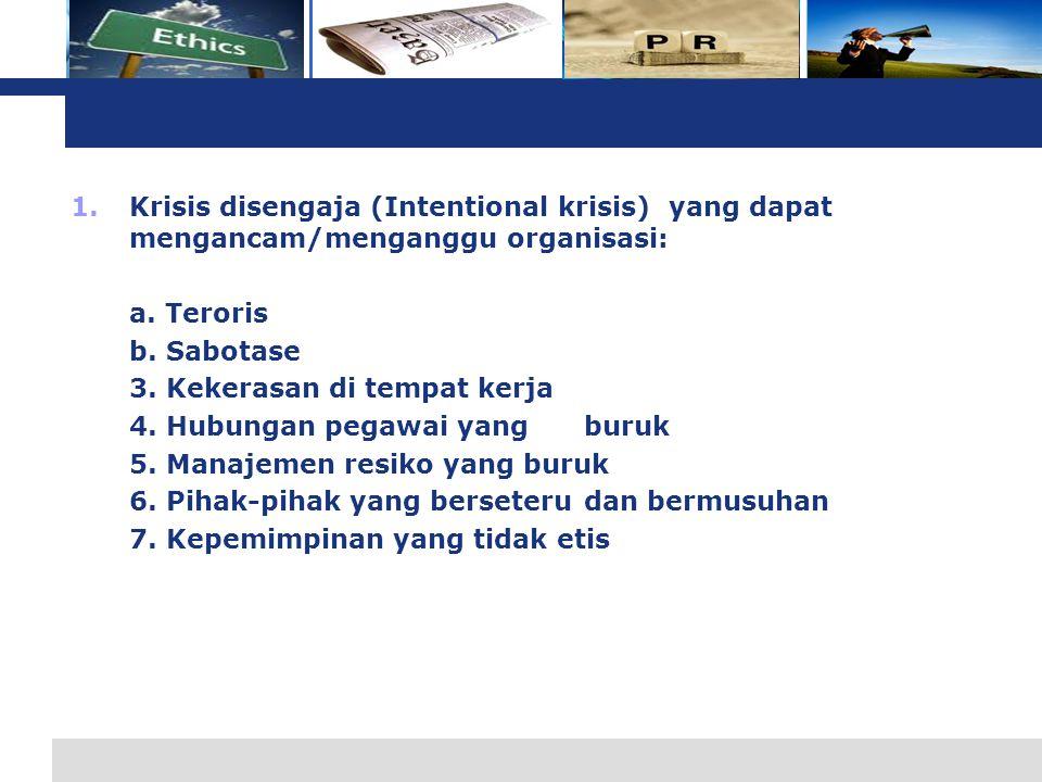 L o g o 1.Krisis disengaja (Intentional krisis) yang dapat mengancam/menganggu organisasi: a.