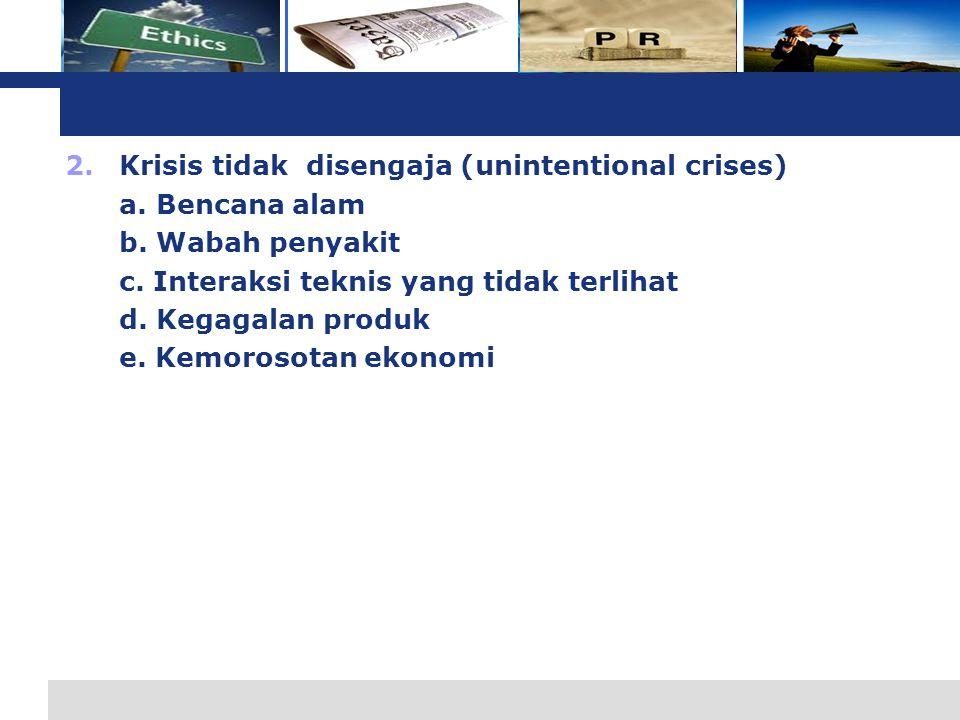L o g o 2.Krisis tidak disengaja (unintentional crises) a.