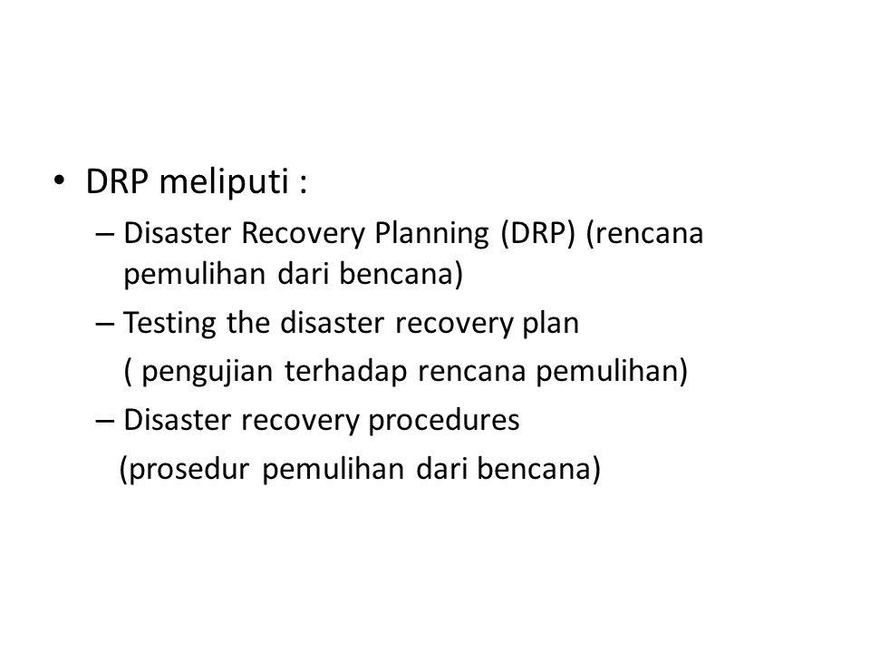 DRP meliputi : – Disaster Recovery Planning (DRP) (rencana pemulihan dari bencana) – Testing the disaster recovery plan ( pengujian terhadap rencana pemulihan) – Disaster recovery procedures (prosedur pemulihan dari bencana)