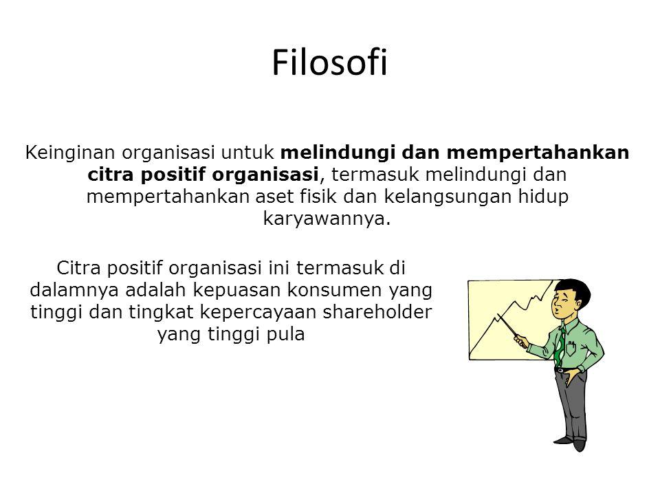 Filosofi Keinginan organisasi untuk melindungi dan mempertahankan citra positif organisasi, termasuk melindungi dan mempertahankan aset fisik dan kelangsungan hidup karyawannya.