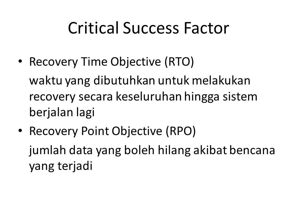 Critical Success Factor Recovery Time Objective (RTO) waktu yang dibutuhkan untuk melakukan recovery secara keseluruhan hingga sistem berjalan lagi Recovery Point Objective (RPO) jumlah data yang boleh hilang akibat bencana yang terjadi