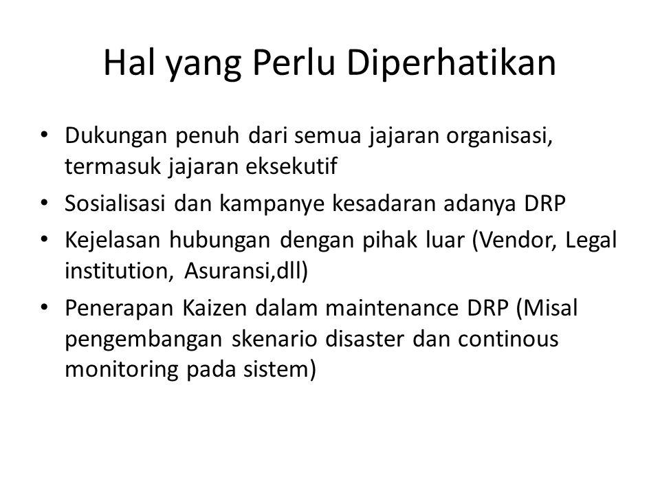 Hal yang Perlu Diperhatikan Dukungan penuh dari semua jajaran organisasi, termasuk jajaran eksekutif Sosialisasi dan kampanye kesadaran adanya DRP Kej