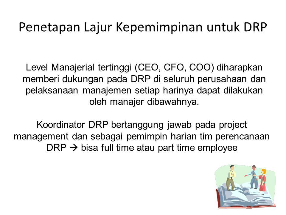 Penetapan Lajur Kepemimpinan untuk DRP Level Manajerial tertinggi (CEO, CFO, COO) diharapkan memberi dukungan pada DRP di seluruh perusahaan dan pelaksanaan manajemen setiap harinya dapat dilakukan oleh manajer dibawahnya.