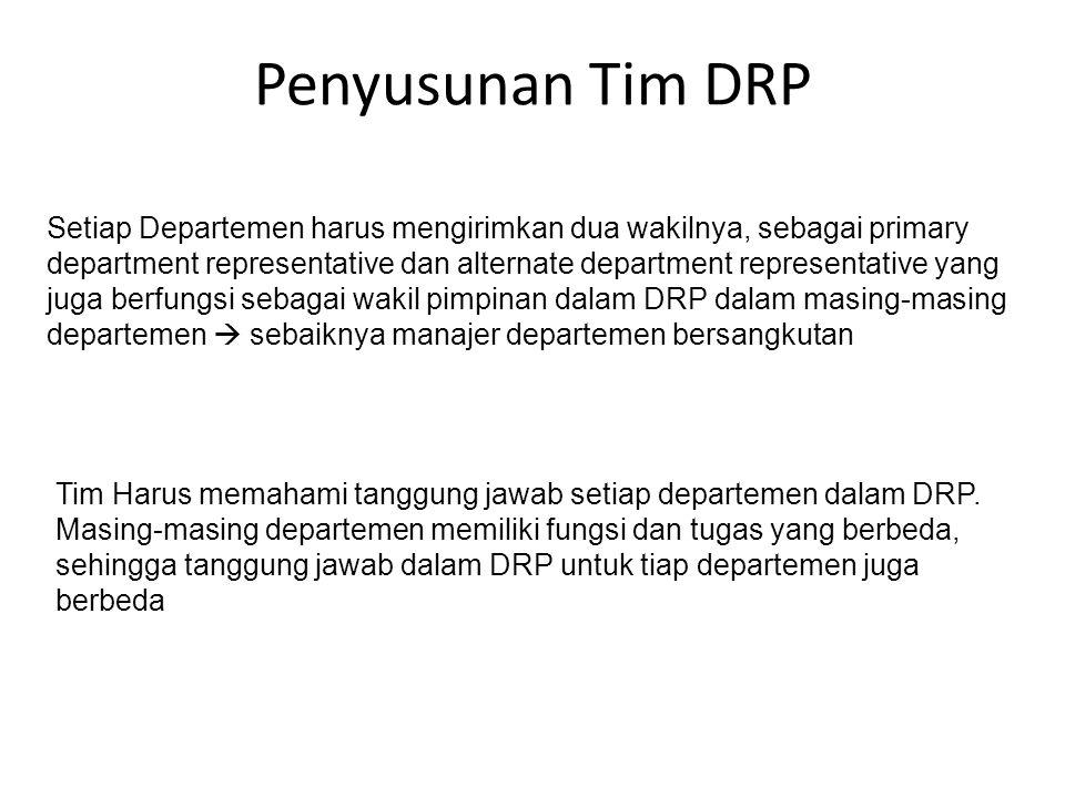Penyusunan Tim DRP Setiap Departemen harus mengirimkan dua wakilnya, sebagai primary department representative dan alternate department representative yang juga berfungsi sebagai wakil pimpinan dalam DRP dalam masing-masing departemen  sebaiknya manajer departemen bersangkutan Tim Harus memahami tanggung jawab setiap departemen dalam DRP.