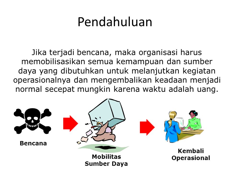 Pendahuluan Jika terjadi bencana, maka organisasi harus memobilisasikan semua kemampuan dan sumber daya yang dibutuhkan untuk melanjutkan kegiatan ope