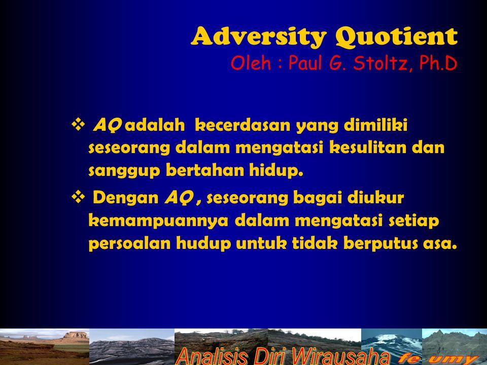 Adversity Quotient Oleh : Paul G.
