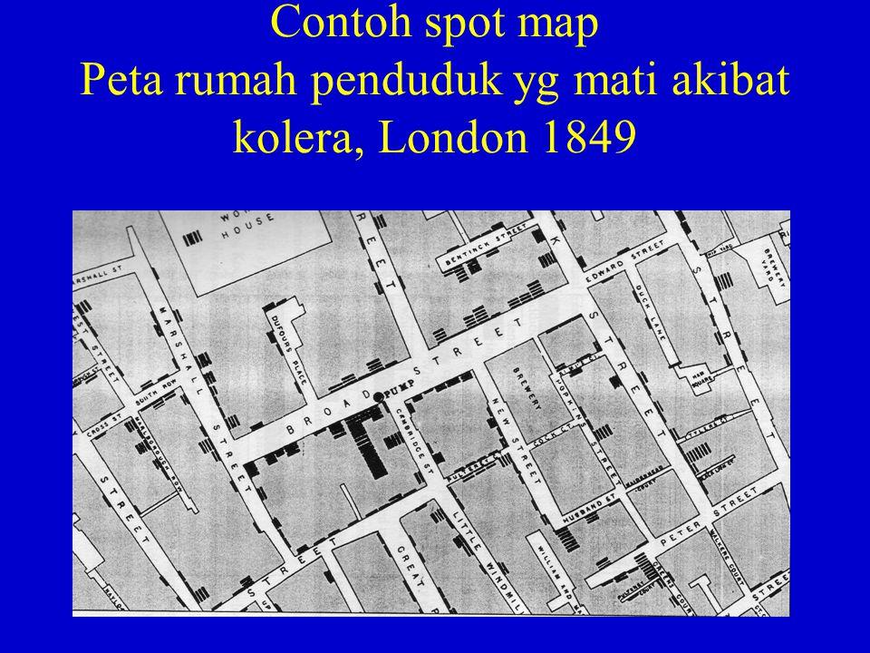 Contoh spot map Peta rumah penduduk yg mati akibat kolera, London 1849