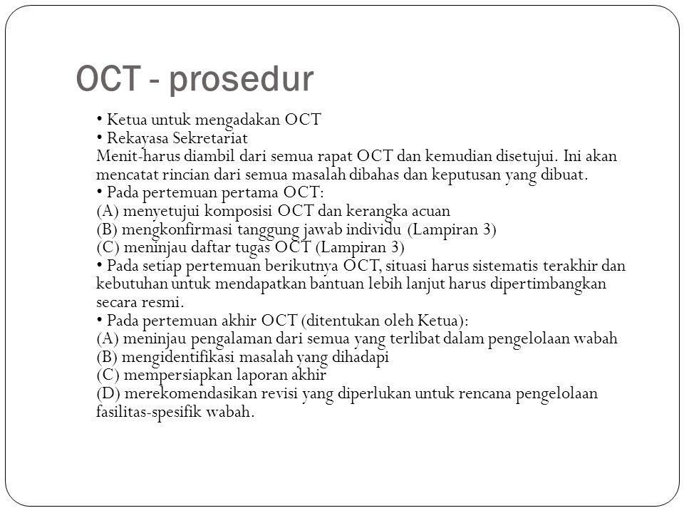 OCT - prosedur Ketua untuk mengadakan OCT Rekayasa Sekretariat Menit-harus diambil dari semua rapat OCT dan kemudian disetujui.