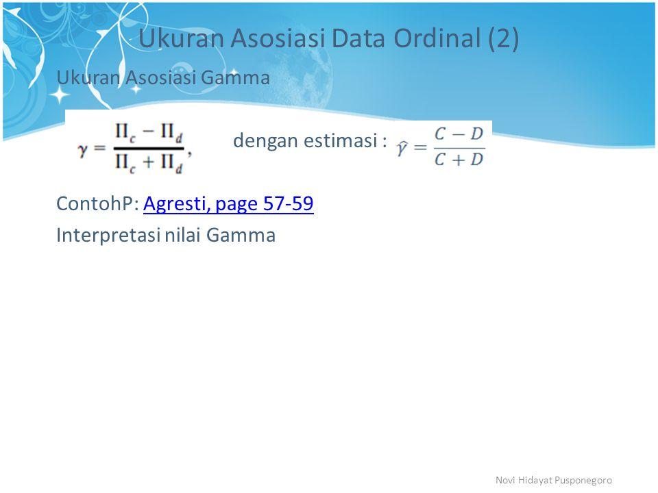 Ukuran Asosiasi Data Ordinal (2) Ukuran Asosiasi Gamma dengan estimasi : ContohP: Agresti, page 57-59Agresti, page 57-59 Interpretasi nilai Gamma Novi