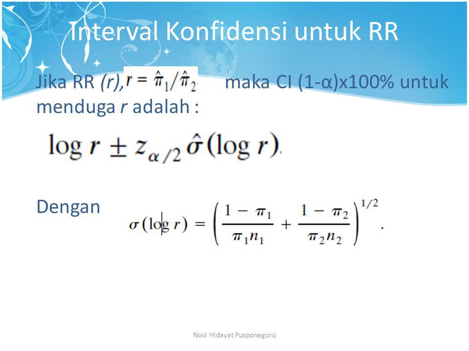 Interval Konfidensi untuk RR Novi Hidayat Pusponegoro Jika RR (r), maka CI (1-α)x100% untuk menduga r adalah : Dengan