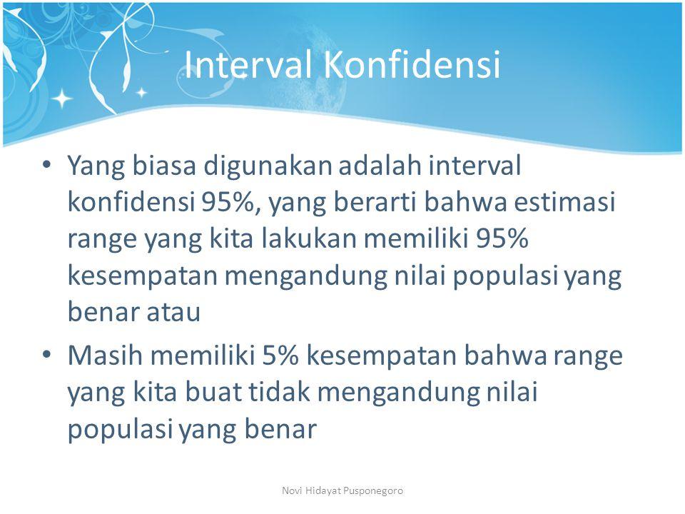 Interval Konfidensi Jika kita menginginkan peluang yang lebih kecil untuk terjadinya error, maka bisa digunakan interval konfidensi 99%.