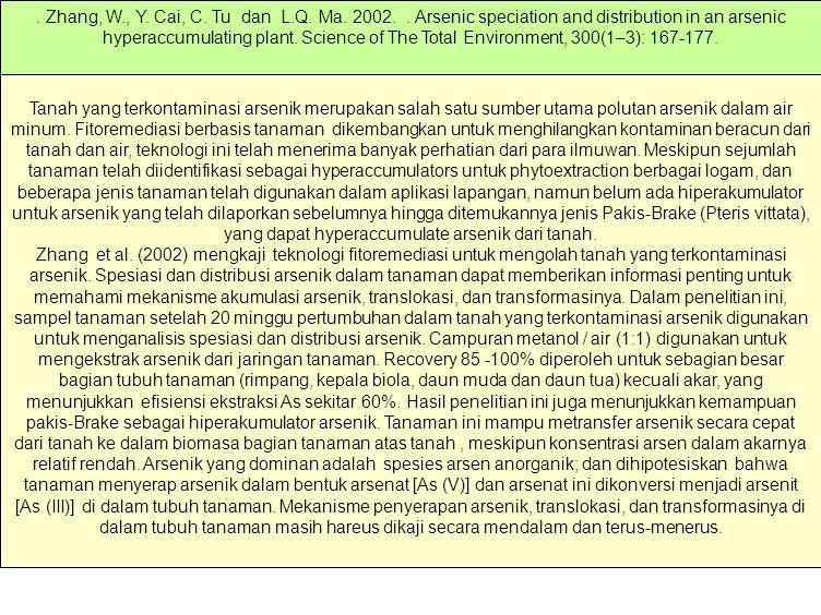 Kisaran konsentrasi As yang ditemukan dalam ekosistem perairan alamiah berkisar mulai dari kurang 0,5 mg/liter hinggga lebih dari 5000 mg/liter (.
