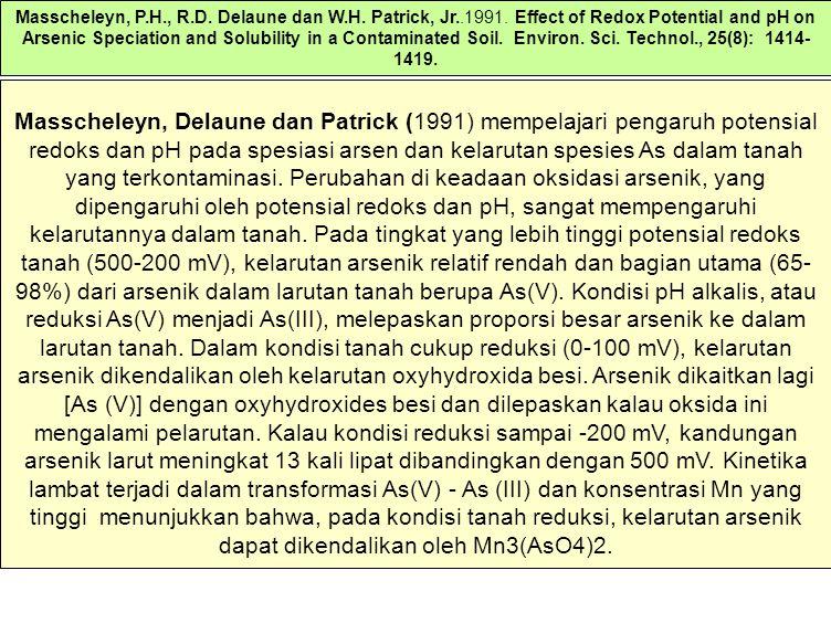 Masscheleyn, Delaune dan Patrick (1991) mempelajari pengaruh potensial redoks dan pH pada spesiasi arsen dan kelarutan spesies As dalam tanah yang terkontaminasi.