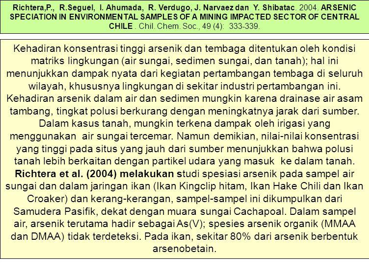 Kehadiran konsentrasi tinggi arsenik dan tembaga ditentukan oleh kondisi matriks lingkungan (air sungai, sedimen sungai, dan tanah); hal ini menunjukkan dampak nyata dari kegiatan pertambangan tembaga di seluruh wilayah, khususnya lingkungan di sekitar industri pertambangan ini.