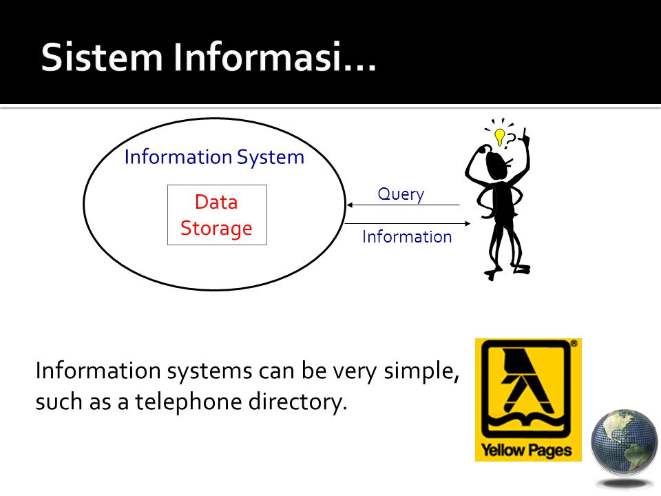 Information systems can be very simple, such as a telephone directory. Data Storage Information System Query Information