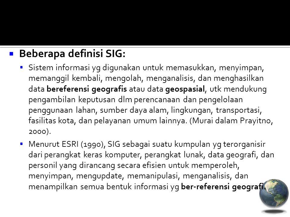  Beberapa definisi SIG:  Sistem informasi yg digunakan untuk memasukkan, menyimpan, memanggil kembali, mengolah, menganalisis, dan menghasilkan data