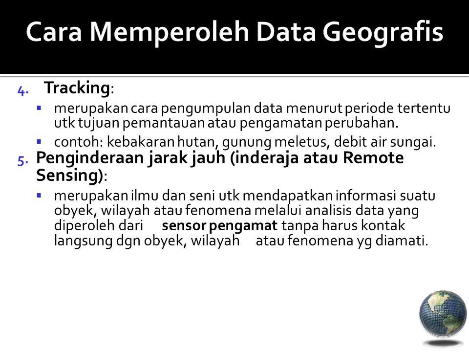 4. Tracking:  merupakan cara pengumpulan data menurut periode tertentu utk tujuan pemantauan atau pengamatan perubahan.  contoh: kebakaran hutan, gu