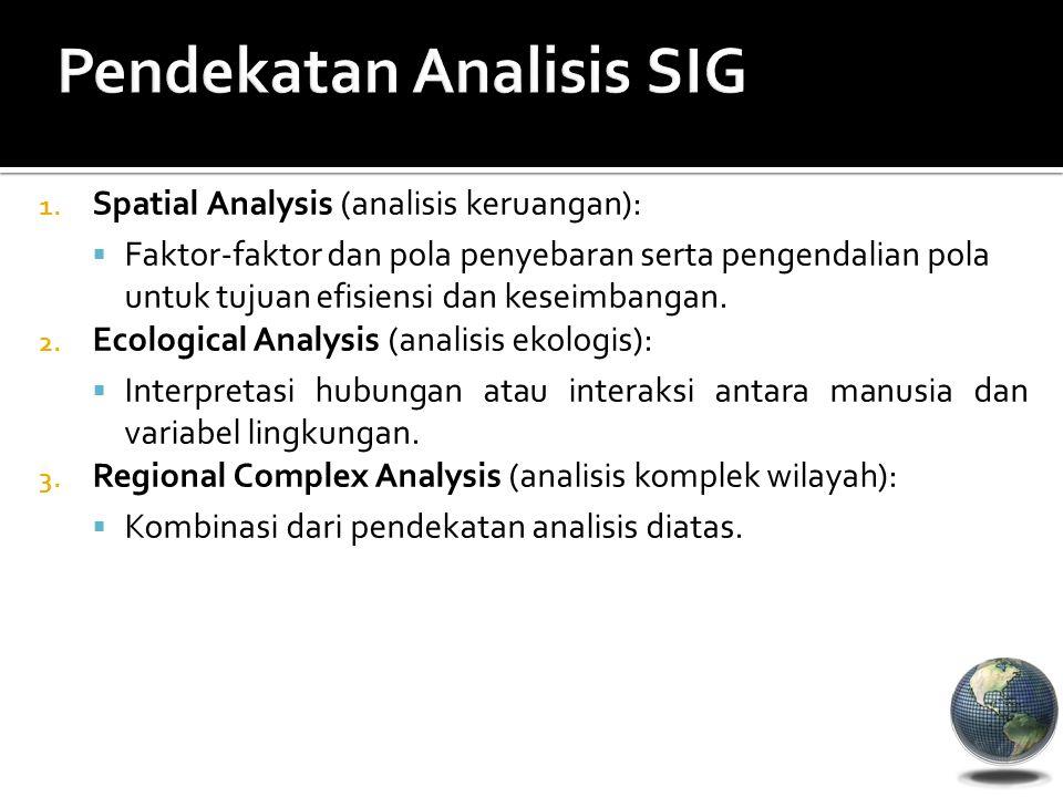 1. Spatial Analysis (analisis keruangan):  Faktor-faktor dan pola penyebaran serta pengendalian pola untuk tujuan efisiensi dan keseimbangan. 2. Ecol