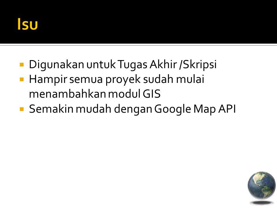  Digunakan untuk Tugas Akhir /Skripsi  Hampir semua proyek sudah mulai menambahkan modul GIS  Semakin mudah dengan Google Map API