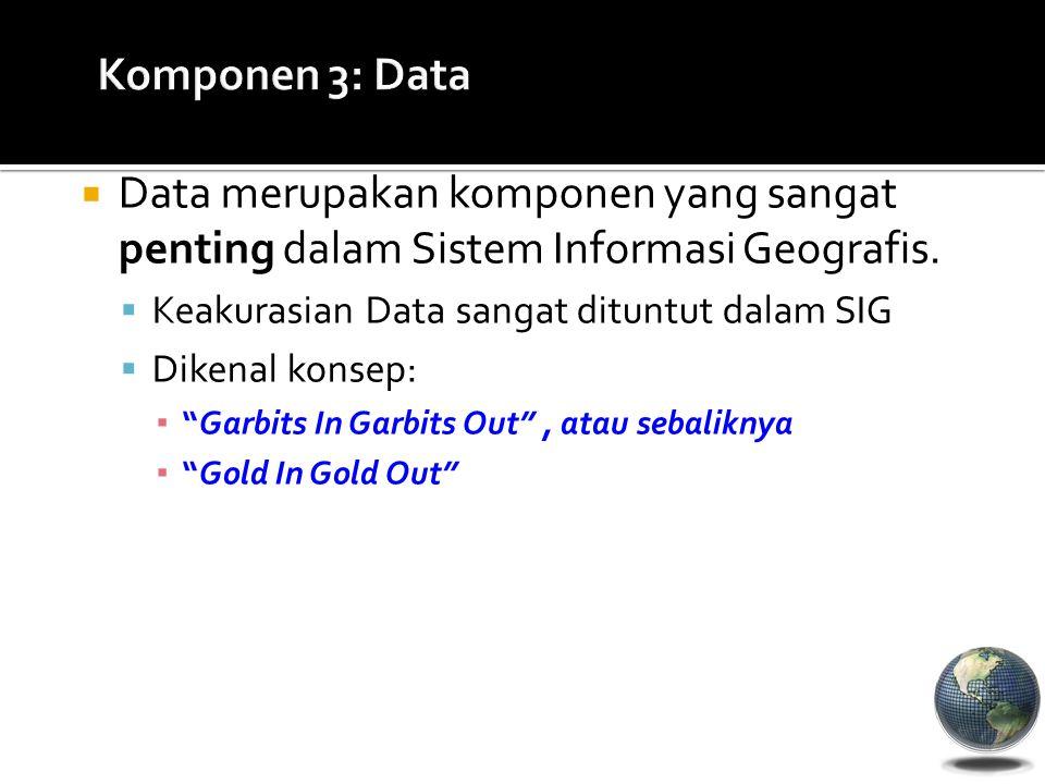  Data merupakan komponen yang sangat penting dalam Sistem Informasi Geografis.