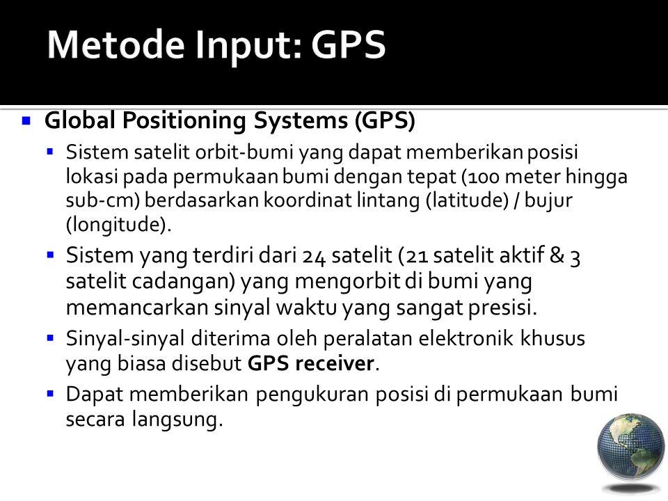  Global Positioning Systems (GPS)  Sistem satelit orbit-bumi yang dapat memberikan posisi lokasi pada permukaan bumi dengan tepat (100 meter hingga sub-cm) berdasarkan koordinat lintang (latitude) / bujur (longitude).