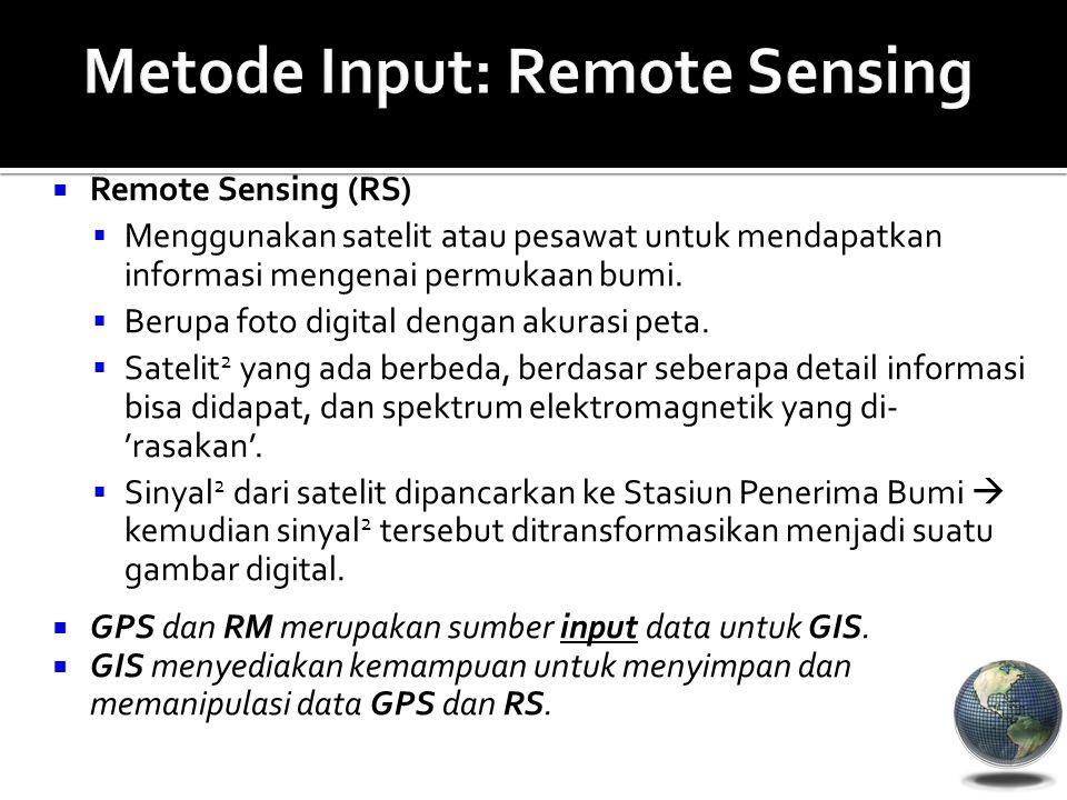  Remote Sensing (RS)  Menggunakan satelit atau pesawat untuk mendapatkan informasi mengenai permukaan bumi.  Berupa foto digital dengan akurasi pet