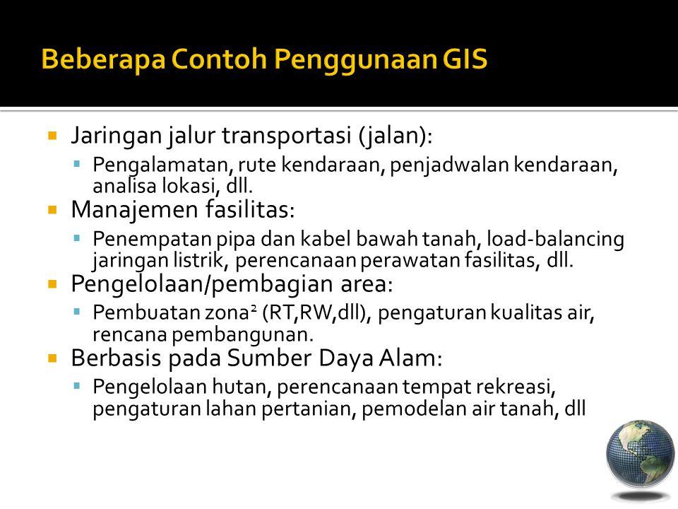  Jaringan jalur transportasi (jalan):  Pengalamatan, rute kendaraan, penjadwalan kendaraan, analisa lokasi, dll.  Manajemen fasilitas:  Penempatan