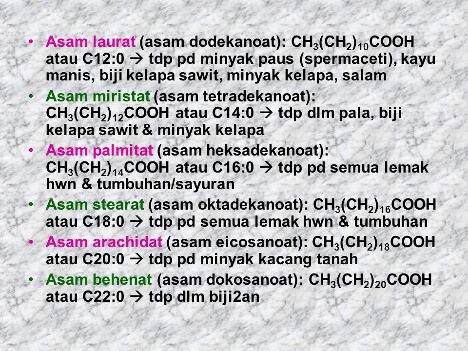 Asam laurat (asam dodekanoat): CH 3 (CH 2 ) 10 COOH atau C12:0  tdp pd minyak paus (spermaceti), kayu manis, biji kelapa sawit, minyak kelapa, salam