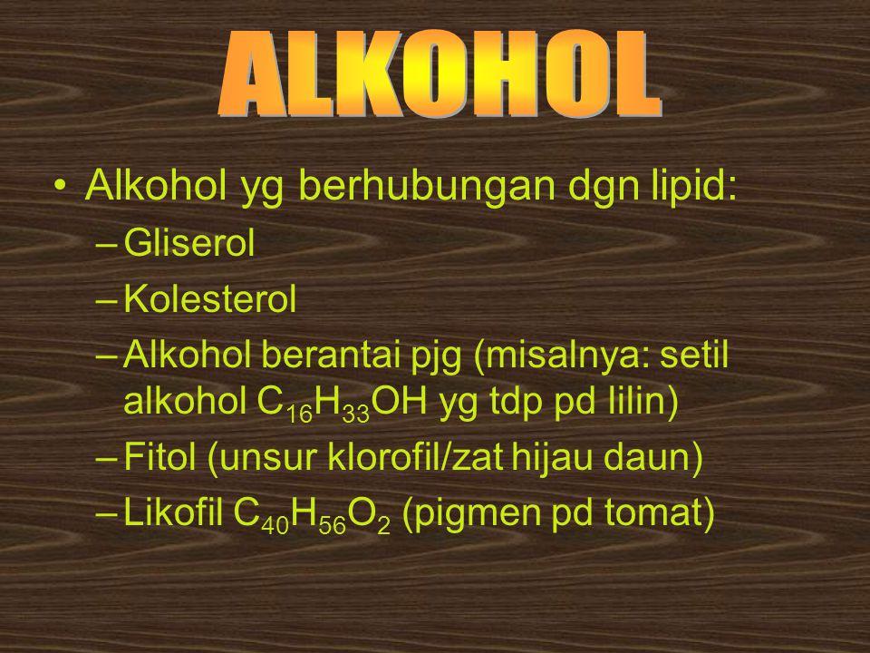 Alkohol yg berhubungan dgn lipid: –Gliserol –Kolesterol –Alkohol berantai pjg (misalnya: setil alkohol C 16 H 33 OH yg tdp pd lilin) –Fitol (unsur klo