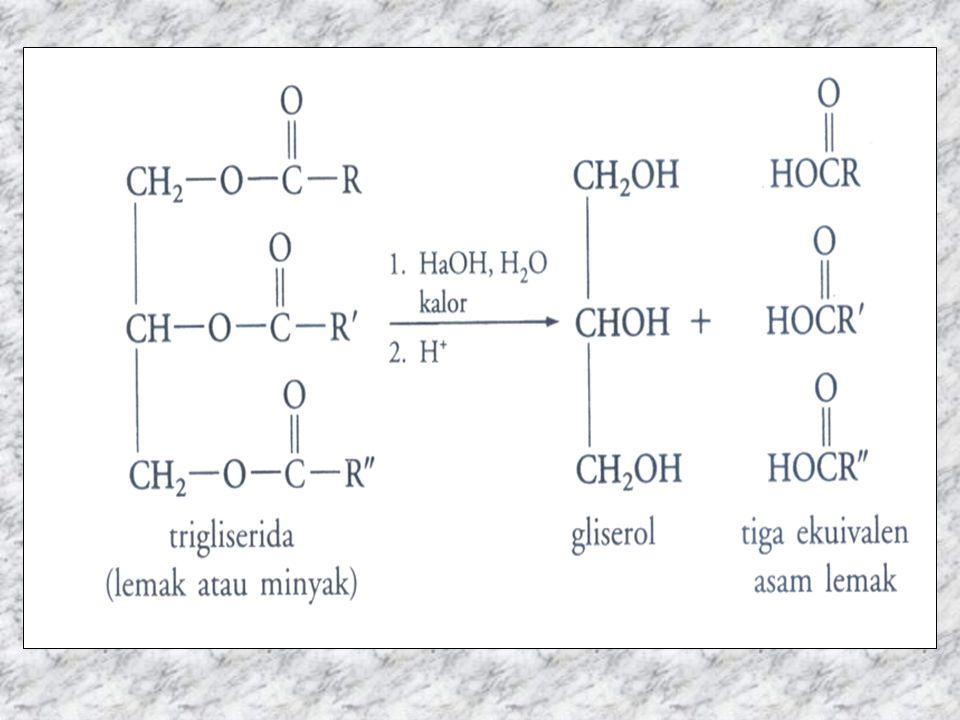 Alkohol yg berhubungan dgn lipid: –Gliserol –Kolesterol –Alkohol berantai pjg (misalnya: setil alkohol C 16 H 33 OH yg tdp pd lilin) –Fitol (unsur klorofil/zat hijau daun) –Likofil C 40 H 56 O 2 (pigmen pd tomat)
