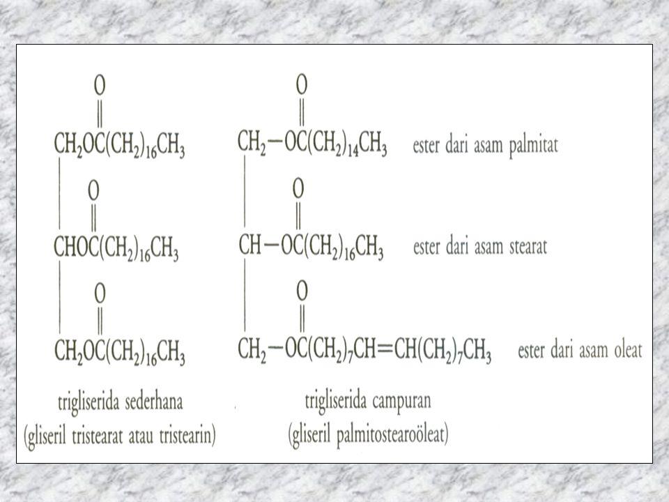 Gliserida mrp senyawa ester yg terbentuk dr gliserol & asam lemakgliserol Gliserida yg memiliki 3 gugus hidroksil disebut trigliserida Rumus kimia trigliserida: CH 2 COOR-CHCOOR -CH 2 -COOR Ct trigliserida adl minyak dr tumbuhan & lemak hewan Pd suhu ruang: –Lemak hewan umumnya berupa zat padat krn mgd asam lemak jenuh –Lemak tumbuhan berupa zat cair (minyak) krn mgd asam lemak tdk jenuh