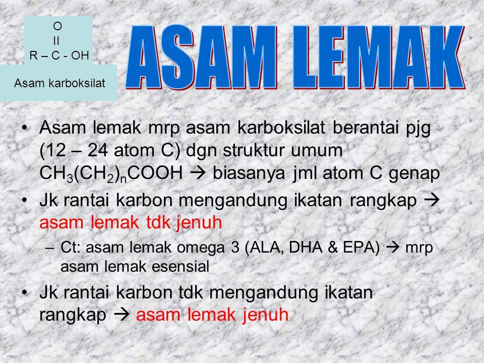 Asam karboksilat Asam lemak mrp asam karboksilat berantai pjg (12 – 24 atom C) dgn struktur umum CH 3 (CH 2 ) n COOH  biasanya jml atom C genap Jk ra