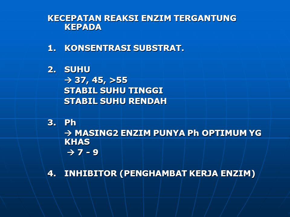 KECEPATAN REAKSI ENZIM TERGANTUNG KEPADA 1. KONSENTRASI SUBSTRAT. 2. SUHU  37, 45, >55  37, 45, >55 STABIL SUHU TINGGI STABIL SUHU TINGGI STABIL SUH