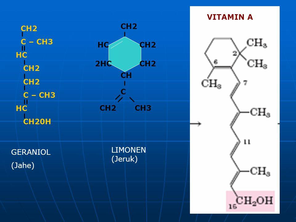 VITAMIN A CH2 C – CH3 HC CH2 C – CH3 HC CH20H CH2 2HC HC CH C CH2CH3 GERANIOL (Jahe) LIMONEN (Jeruk)