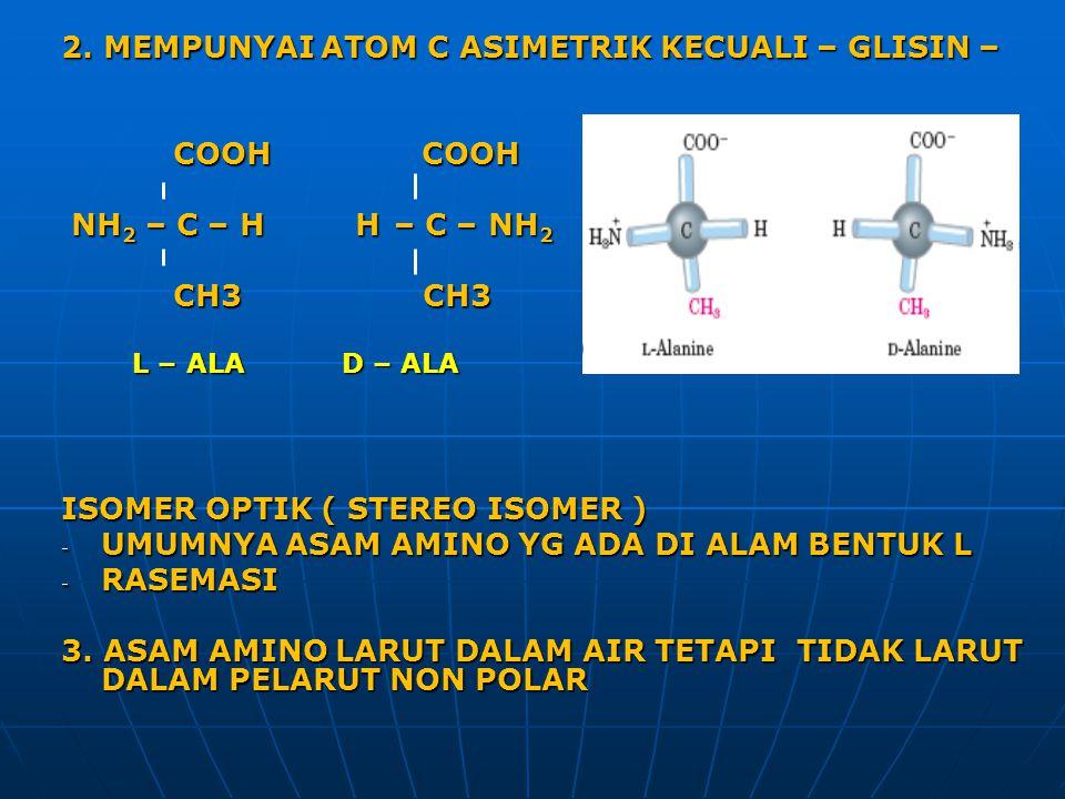 2. MEMPUNYAI ATOM C ASIMETRIK KECUALI – GLISIN – COOH COOH COOH COOH NH 2 – C – H H – C – NH 2 NH 2 – C – H H – C – NH 2 CH3 CH3 CH3 CH3 ISOMER OPTIK
